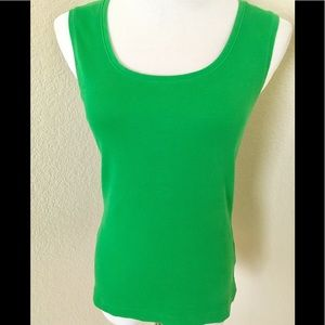 Chico's Green tank top cotton tank top ribbed knit
